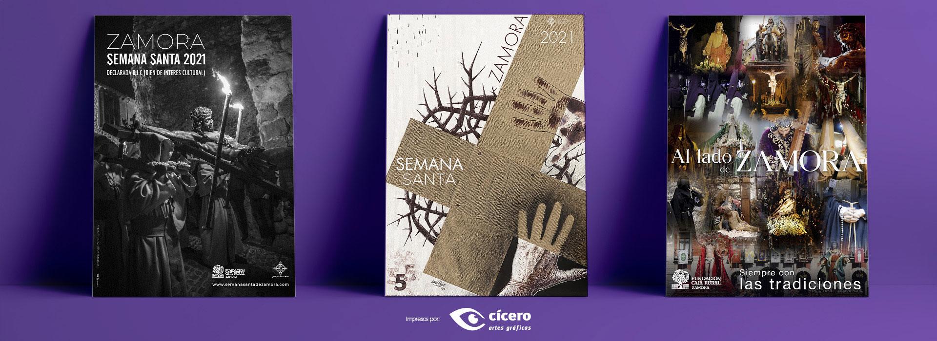 Carteles oficiales Semana Santa Zamora 2021 y carte de Fundación Caja Rural